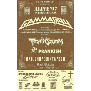 1997 – Somewhere Out In Space – Argentina Tour – Curitiba 10/7 – Flyer.