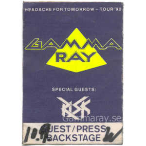 1990 – Headache For Tomorrow Tour90 – Guest/Press Pass.