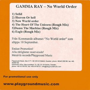 2001 – No World Order – Promo Cdr.
