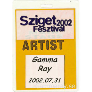 2002 – Sziget Festival Pass – 31/7 – Hungary.