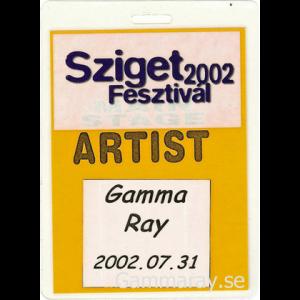 2002 – Sziget Festival Pass – 31/7 – Hungary.