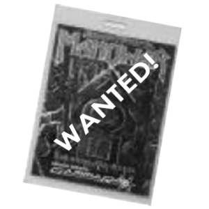 WANTED: 1994 – Insanity And Genius Tour – With Manowar – Pass.