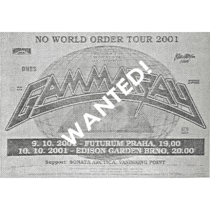 WANTED: 2001 – No World Order Tour 2001 – Czech – Poster.