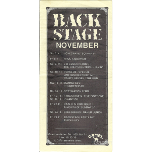 "Program From ""Backstage-Club"" Munich."