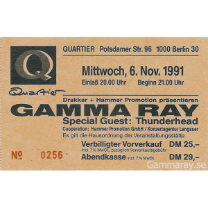 Gamma Ray Ticket – Berlin, 06-11-1991.