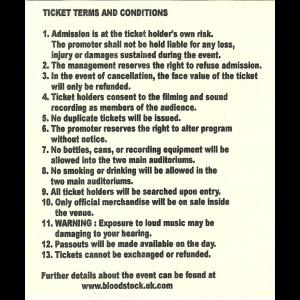 Ticket – Bloodstock – UK – 3-4 September 2004.