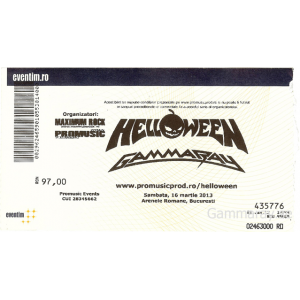 "Ticket – ""Hellish Rock Part II"" – Romania – 13 Mars 2013."