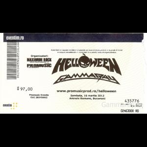 "Ticket – ""Hellish Rock Part II"" – Romania – 13 Mars 2013."