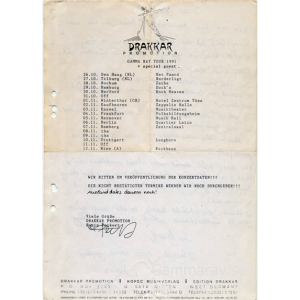 Tour Plan – 91 – Drakkar Promotion Fax.