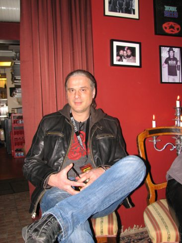 Kosta after the show in Gothenburg Sweden the 6 April 2013 in a pub. Hellish Rock Part II