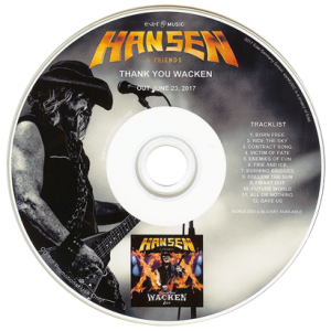 2017 – Hansen & Friends – Thank You Wacken Live – Cd & Dvd – Promo.
