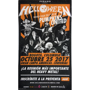 Helloween – Pumpkins United World Tour Flyer – Colombia.