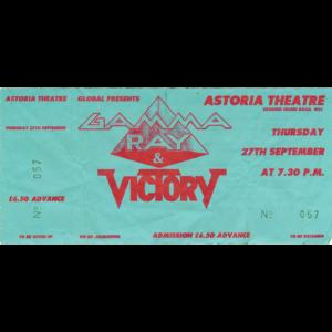 Gamma Ray Ticket – Astoria UK, 27-09-1991.