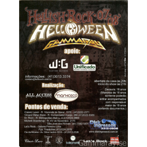 2008 – Hellish Rock 08 Tour – 15 April – Brazil Tour – Flyer.