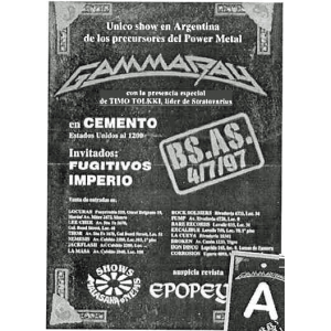 WANTED: 1997 – Somewhere Out In Space – Argentina Tour Poster.