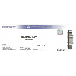 "Ticket – ""To The Metal"" Tour – Docks Hamburg 15 Jan 2010."