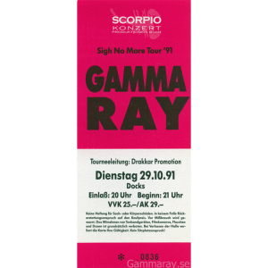 Gamma Ray Ticket – Hamburg, 29-10-1991.