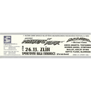 Ticket – Winter Masters of Rock – 2011-11-26 – Czech Republic.