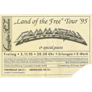 Land Of The Free Tour 03-11-95 – Ticket.