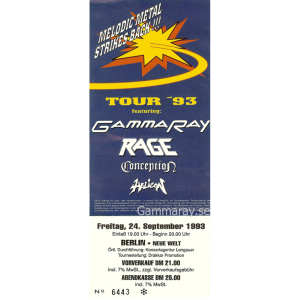 "Ticket – ""Melodic Metal Strikes Back!!"" 1993."