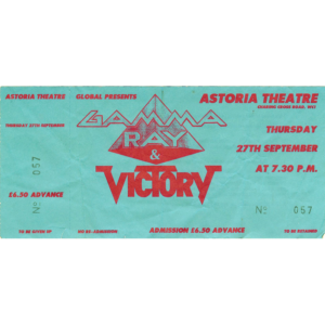 Gamma Ray Ticket – Astoria UK, 27-09-1991.